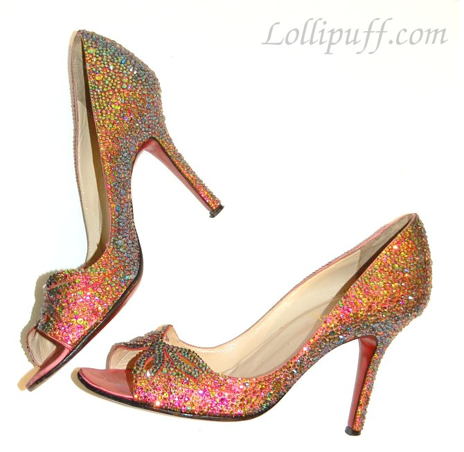 sparkly pink high heels covered in crystals