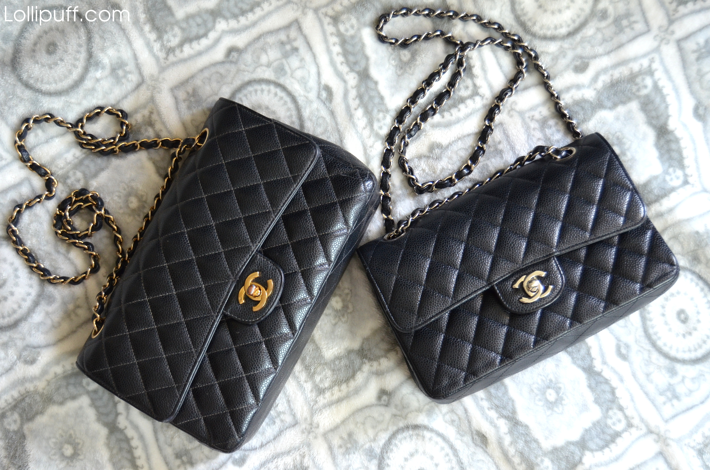 2 chanel classic double flap bags caviar leather