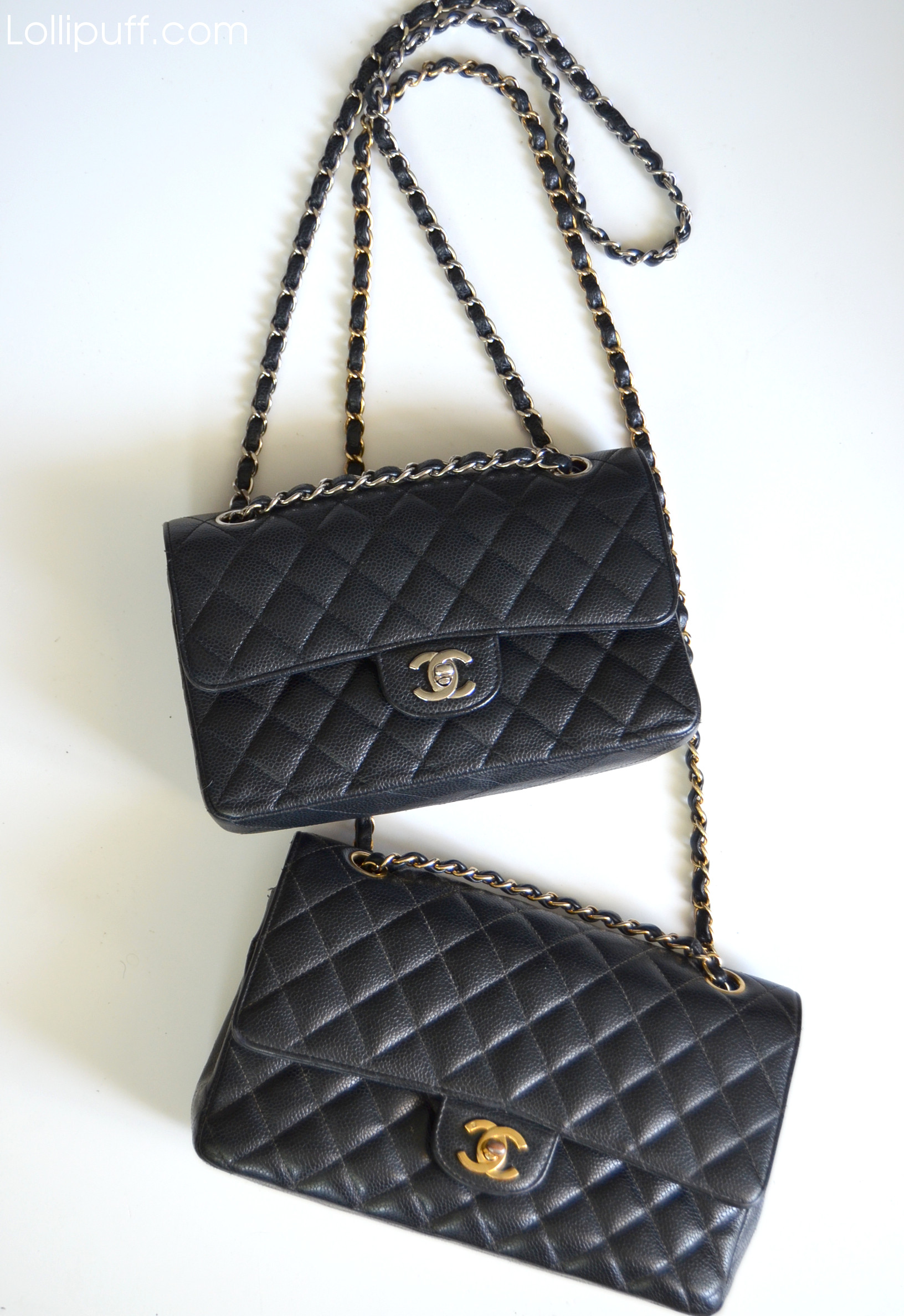 Chanel black caviar classic double flap bags silver and gold hardware