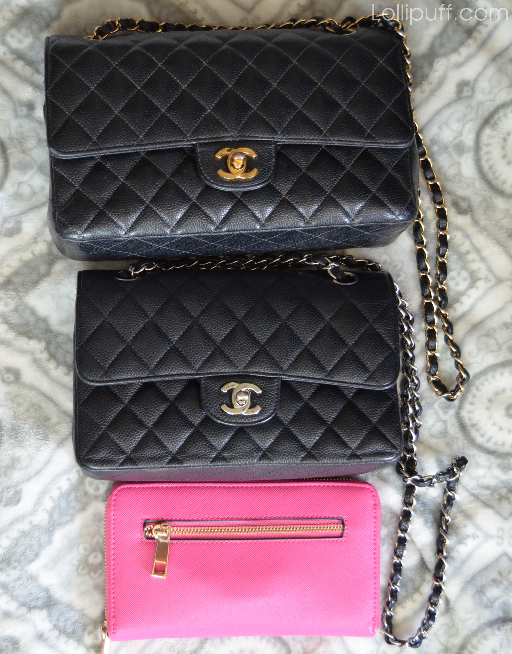 size difference and holding capacity of Chanel small vs medium double flap bag