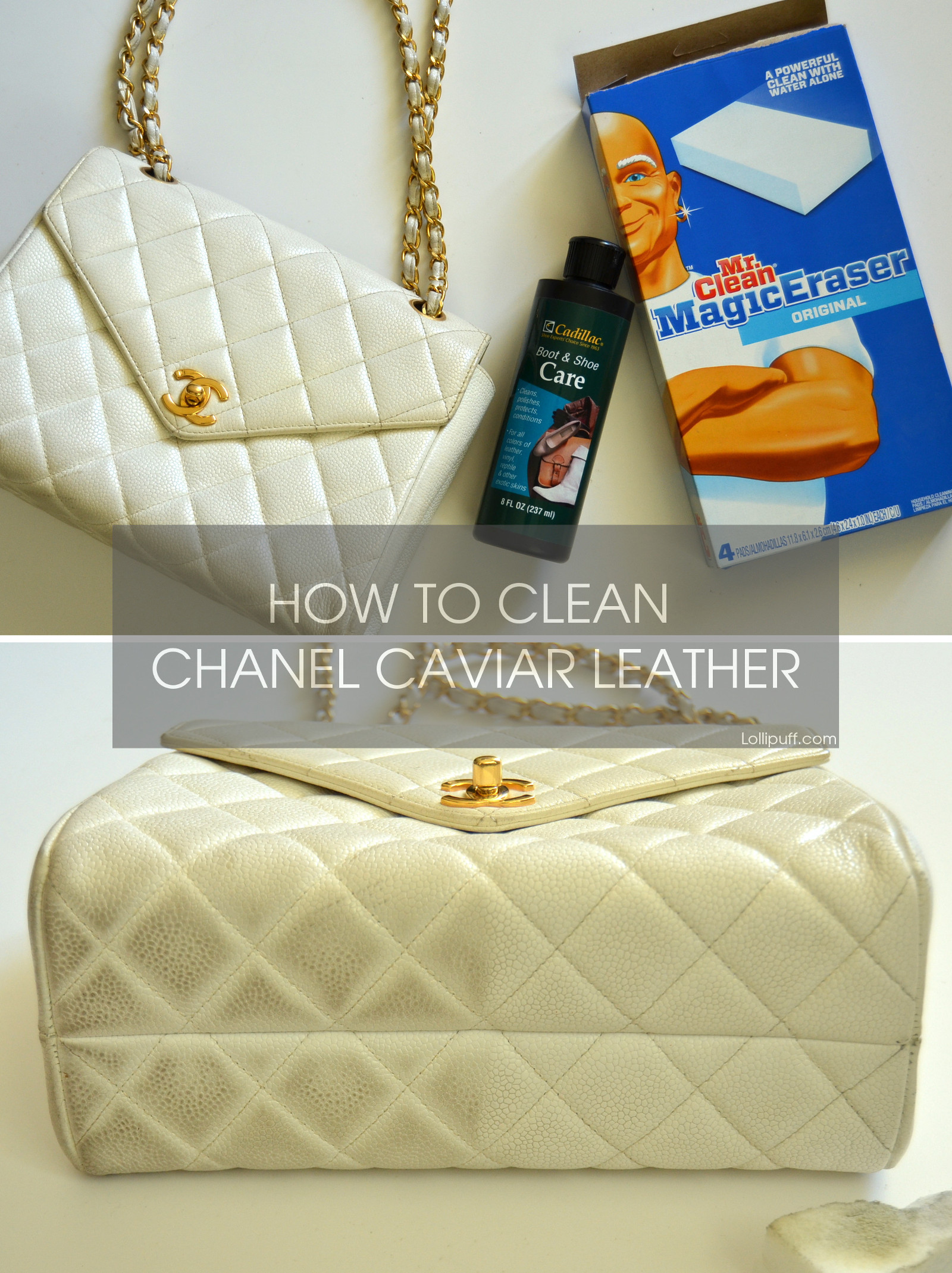 how to clean light colored stained Chanel caviar leather handbag purse