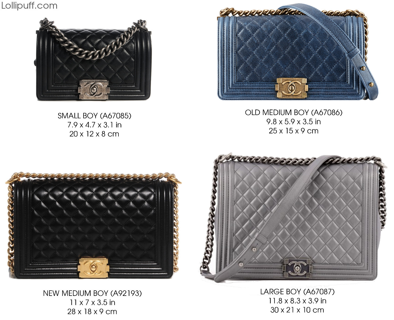 8f1477a0b494 Chanel Boy Bag Size Guide | Lollipuff