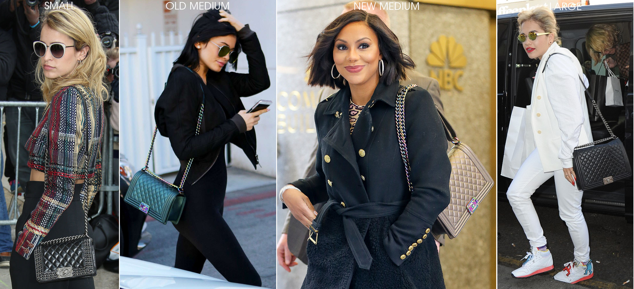 celebrities wearing chanel small old new medium large le boy flap bag comparison