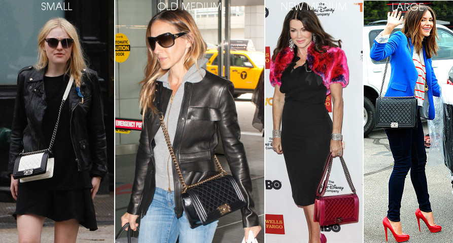 how different chanel boy bag sizes look on the body celeb celebrity examples