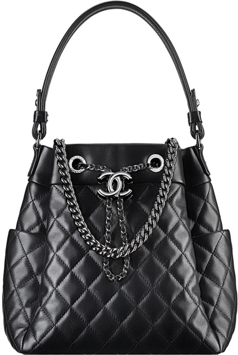 3ce687507aba Chanel 2016 2017 Fall Winter Bags Handbag Collection Season. 59. Black  Lambskin Drawstring Bucket ...