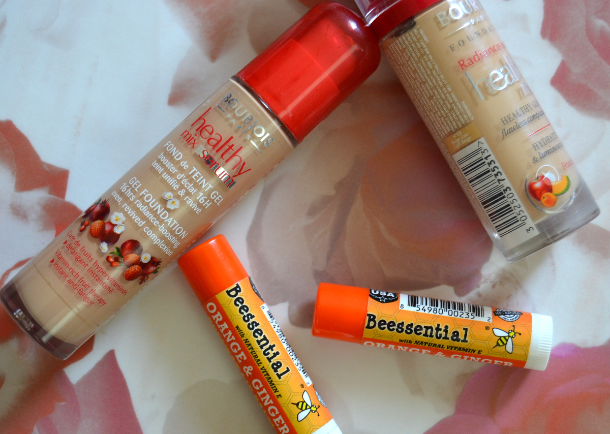 bourjois healthy mix serum gel foundation and beessential orange ginger lip balm