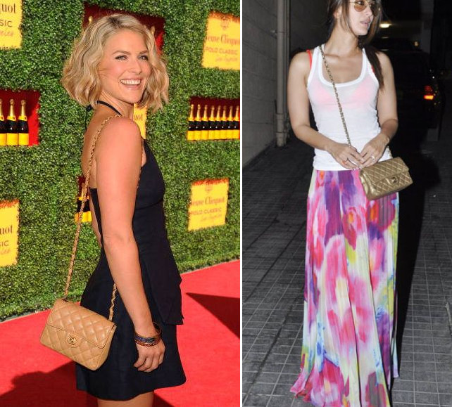 celebrities wearing small mini chanel flap quilted bag