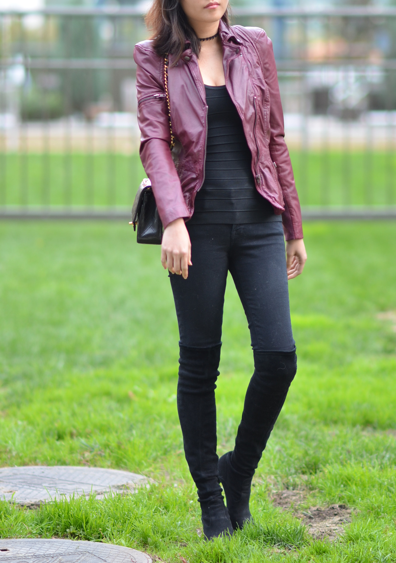 outfit with burgundy Muubaa motorcycle moto fitted leather jacket