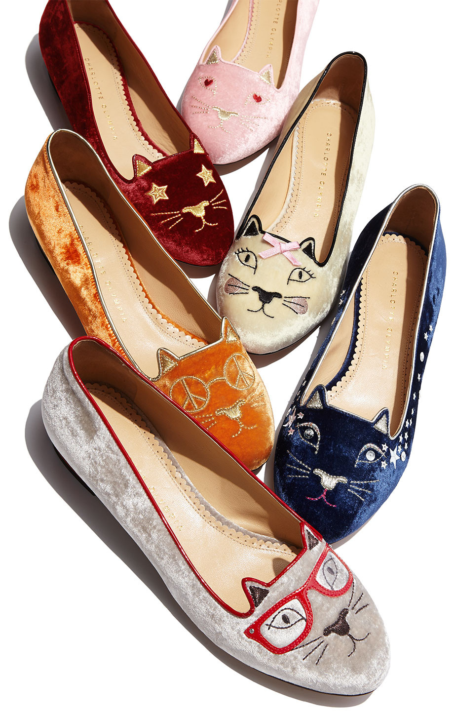 different styles of charlotte olympia cat kitty slipper shoes