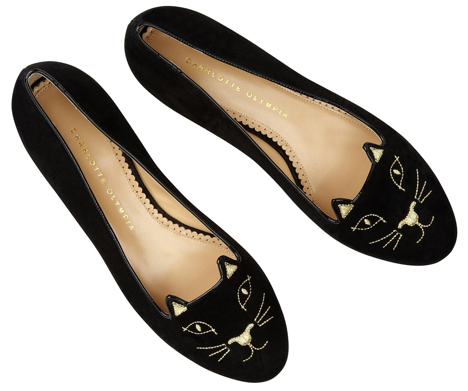 black cat stitched slipper flats