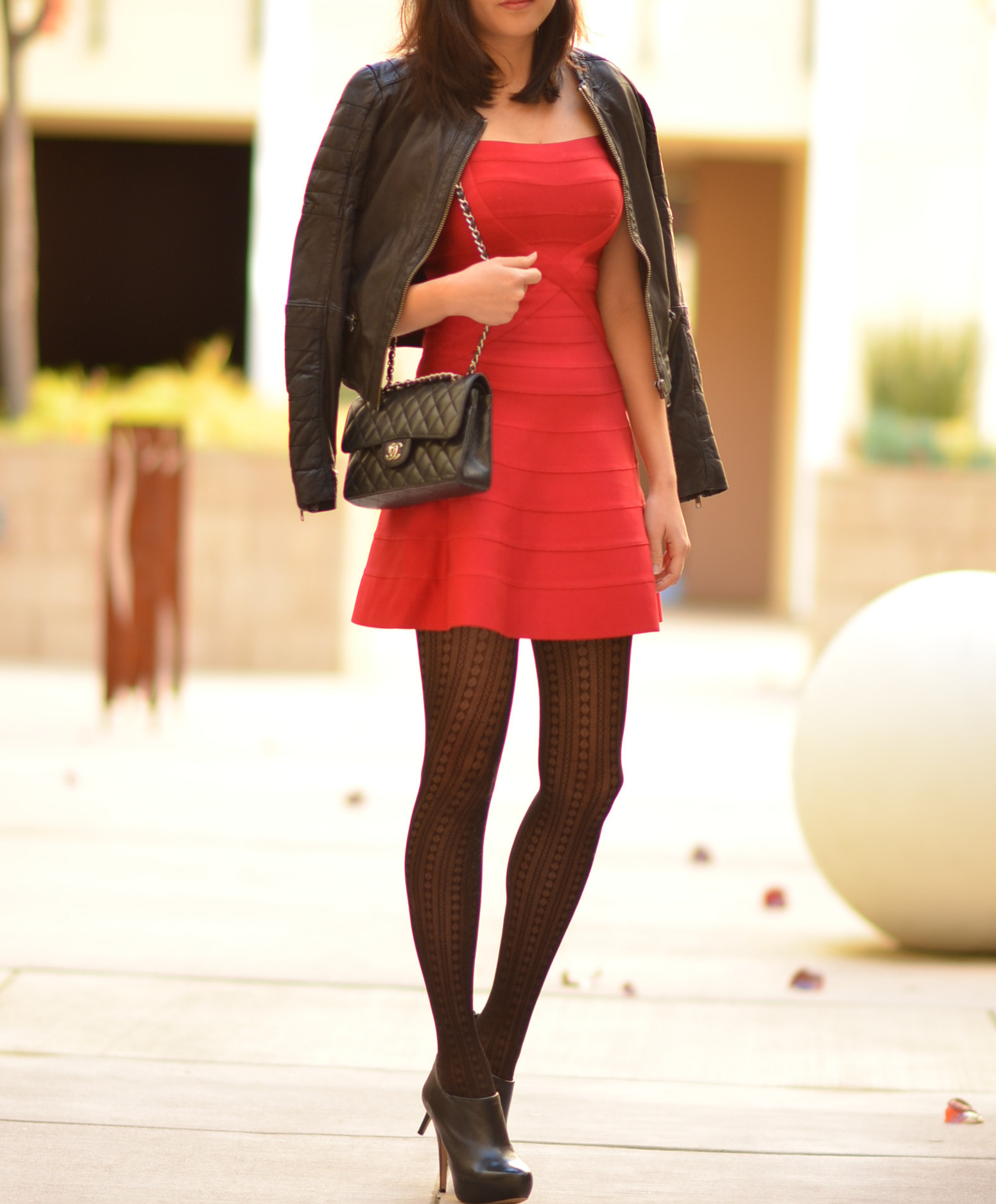 mini flared dress with crop leather jacket booties for fall winter
