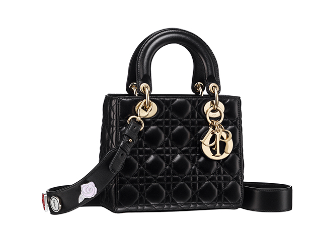 black christian dior cannage lady dior with pins