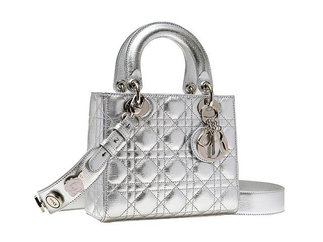 metallic lady dior bag with pins