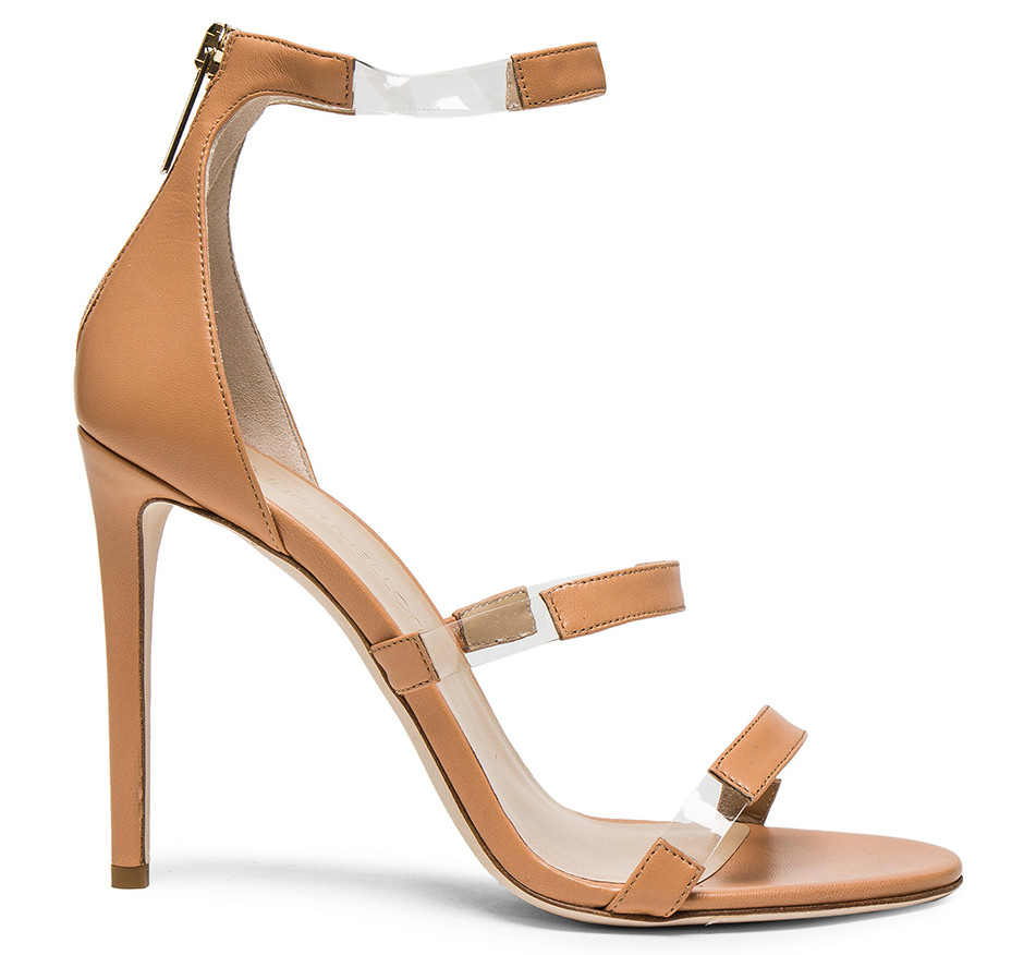 strappy beige pvc sandals