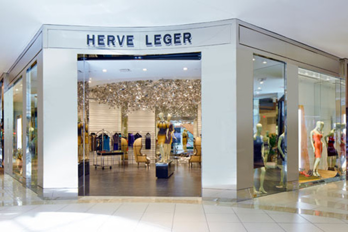 Herve Leger storefront display mall