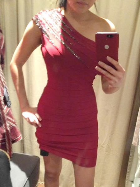Trying on 2016 2017 Herve Leger red one sleeve dress