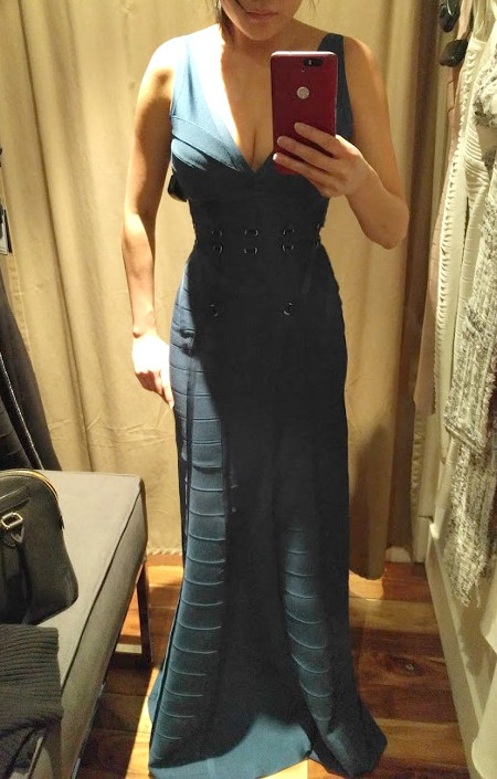 Trying on 2016 2017 Herve Leger long floor length dress