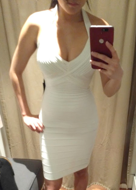 Trying on 2016 2017 Herve Leger white dress review