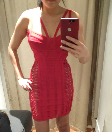 Trying on 2016 2017 Herve Leger cutout sexy dress