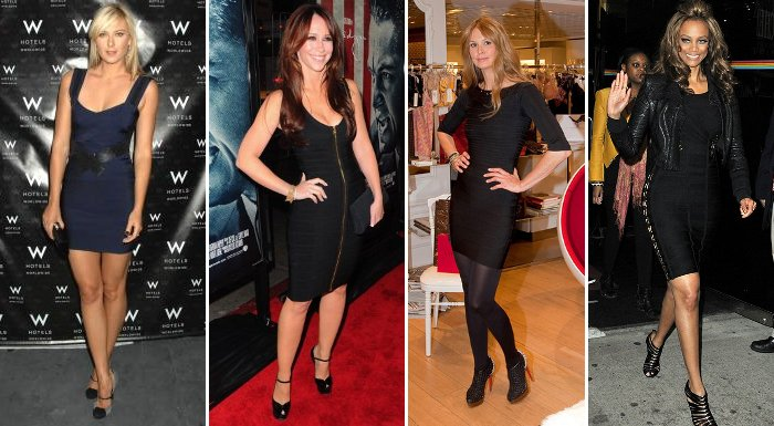 slimming dark colored Herve Leger dresses