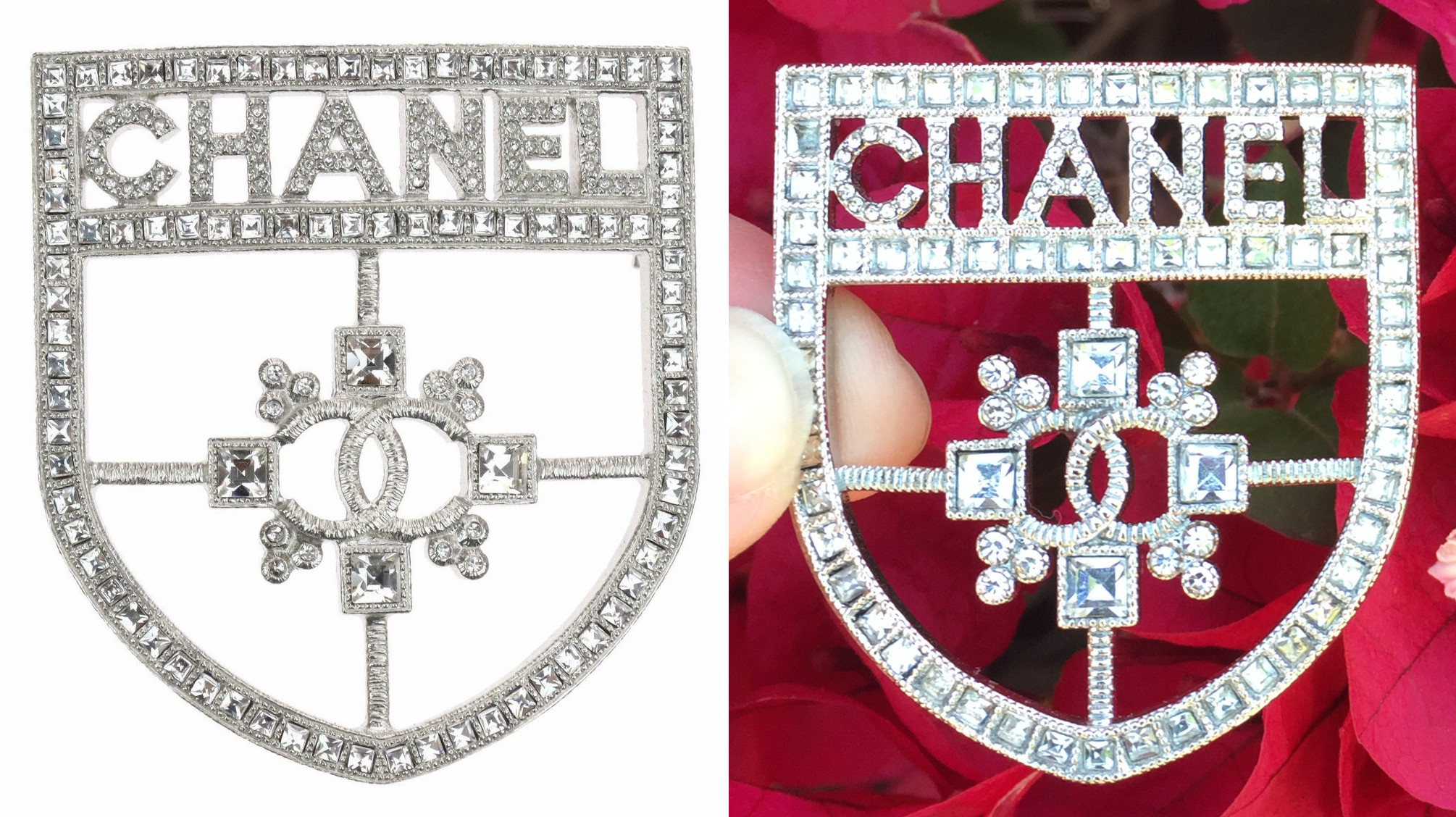 fake authentic differences on Chanel jewelry brooch