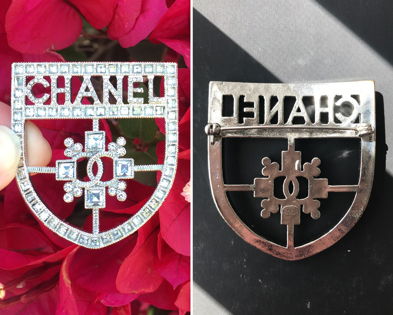 fake chanel costume jewelry xxl shield brooch
