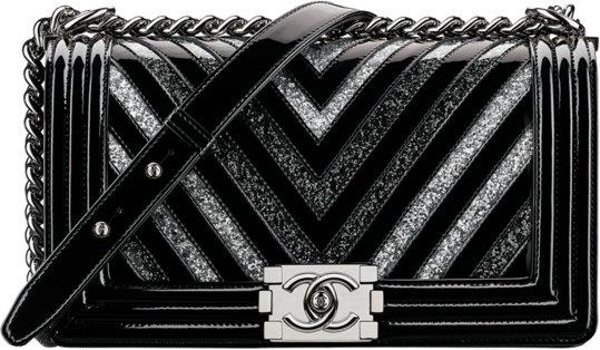 c3148575ea31 Chanel Fall Winter 2017 2018 collection season handbag bag. 43. Glitter PVC  black patent calfskin boy- ...