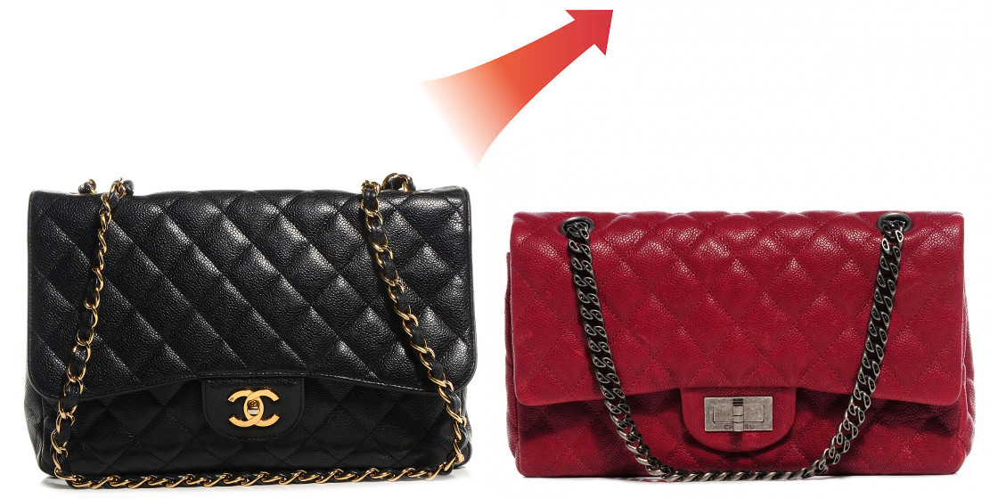 Chanel caviar red black double flap and mademoiselle reissue bag