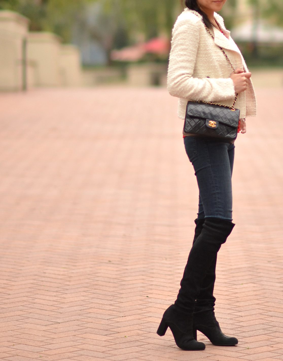 Chanel bag with over the knee otk boots