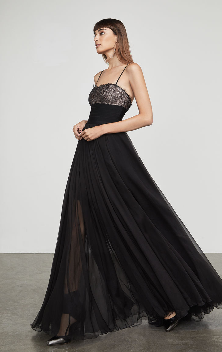 herve leger lace bandage and chiffon a line gown long dress