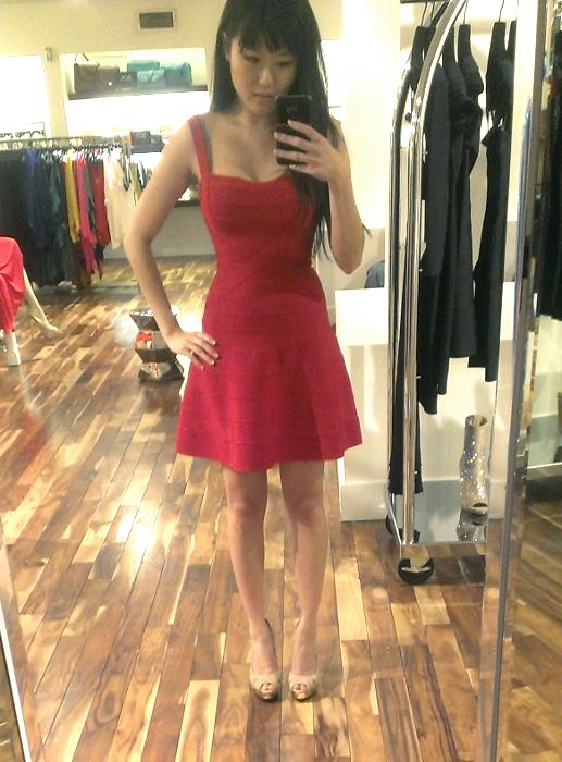 red fit and flare bandage dress