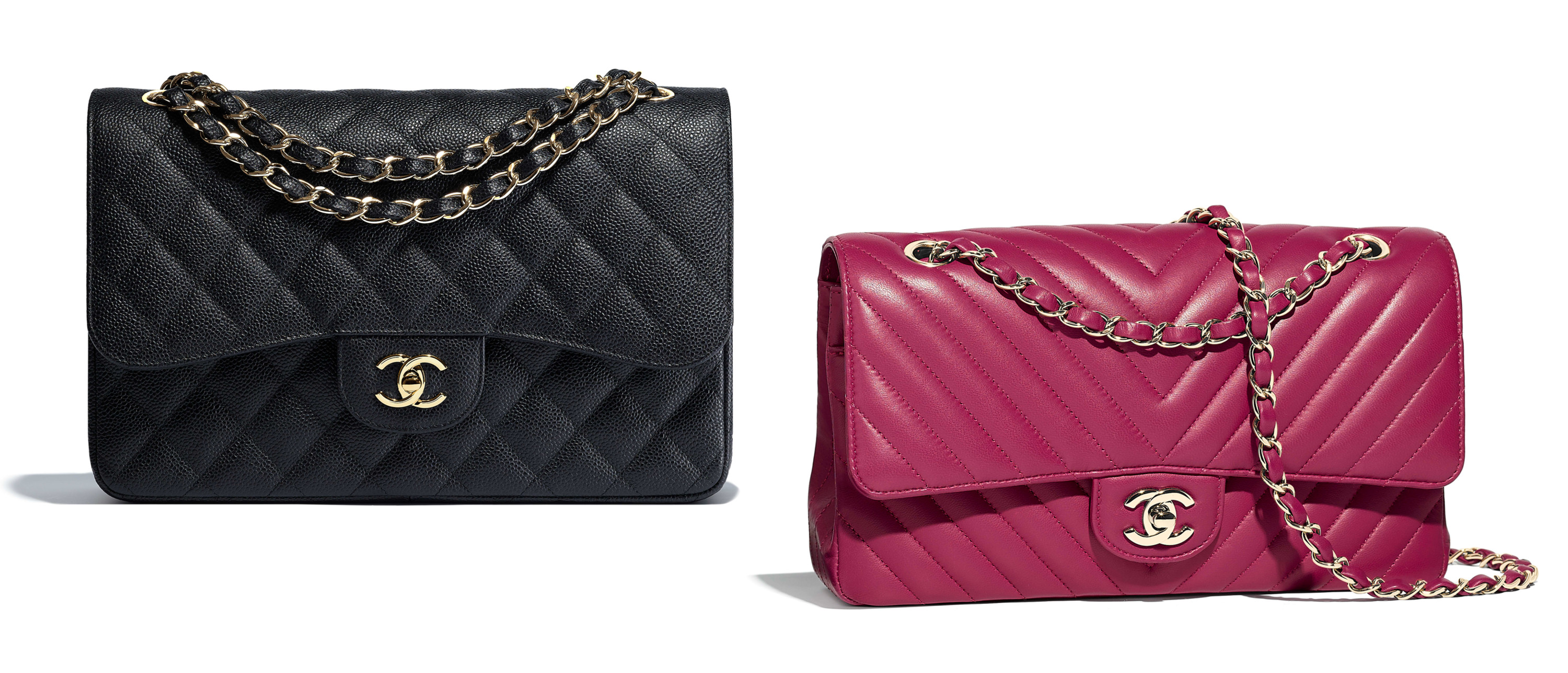 Chanel classic flap bag black quilted pink chevron
