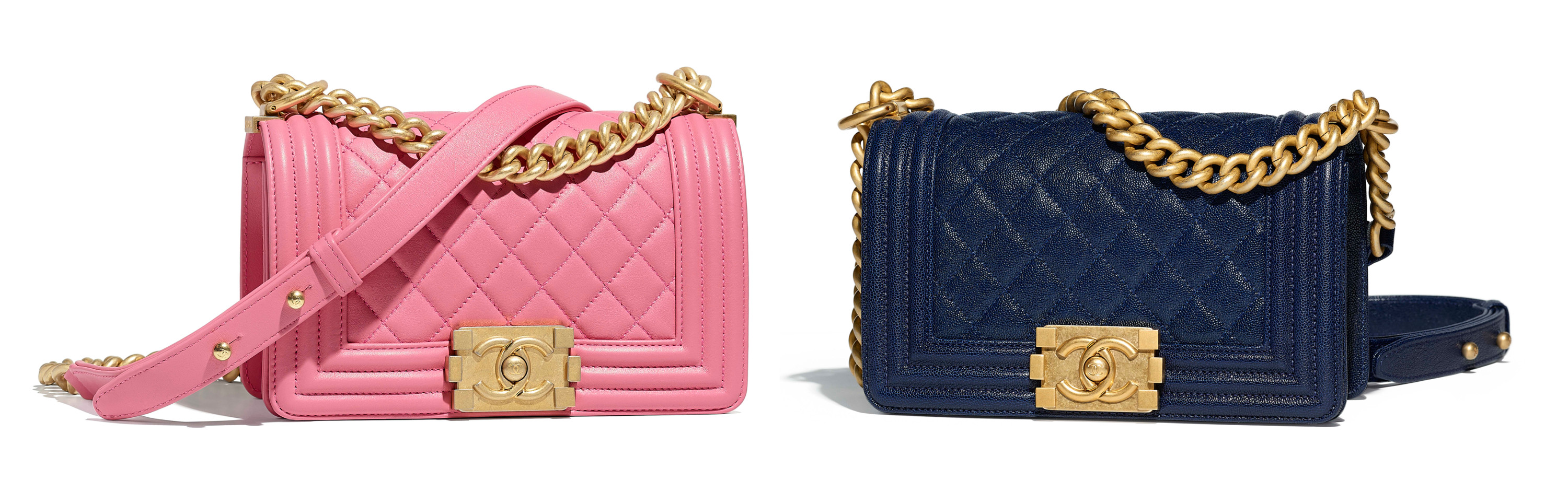 Chanel le boy pink navy price more expensive