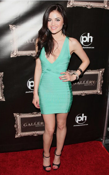 Lucy Hale sexy green bandage dress
