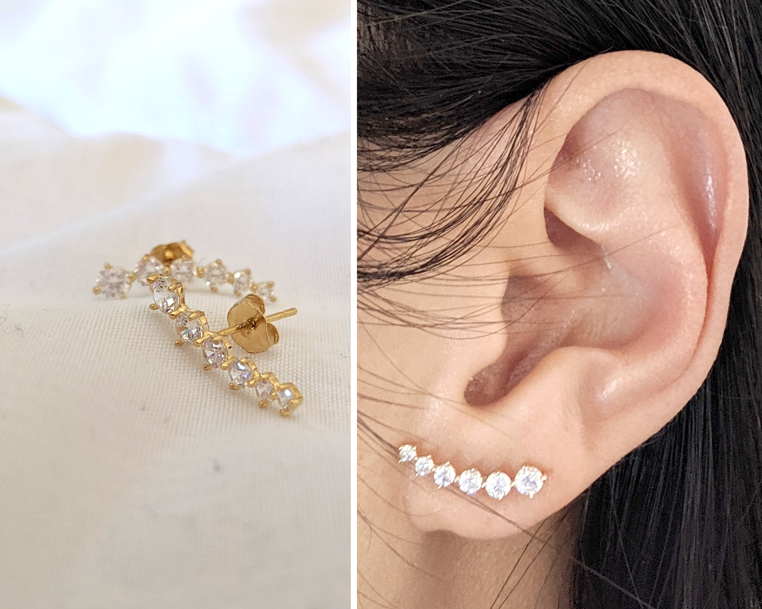 affordable trendy pure 14k gold earrings
