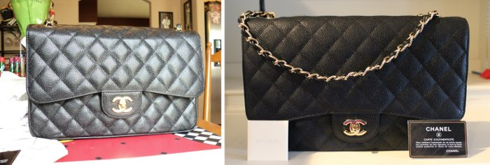 fake vs real chanel caviar double flap bag