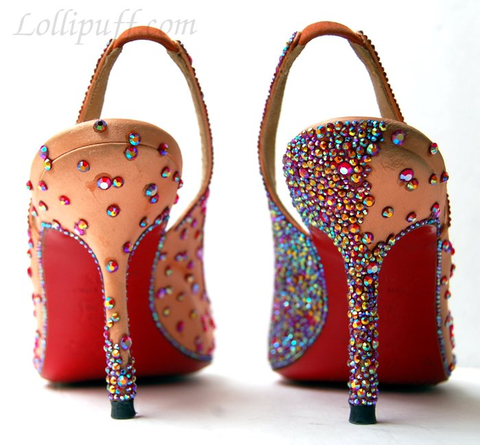 christian louboutin shoes strassing partly complete