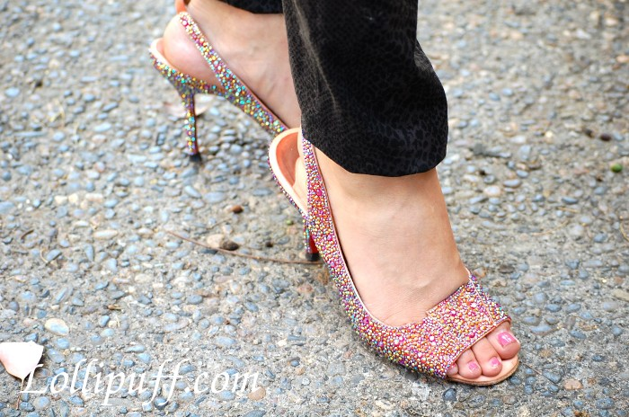 wearing swarovski covered shoes heels sandals