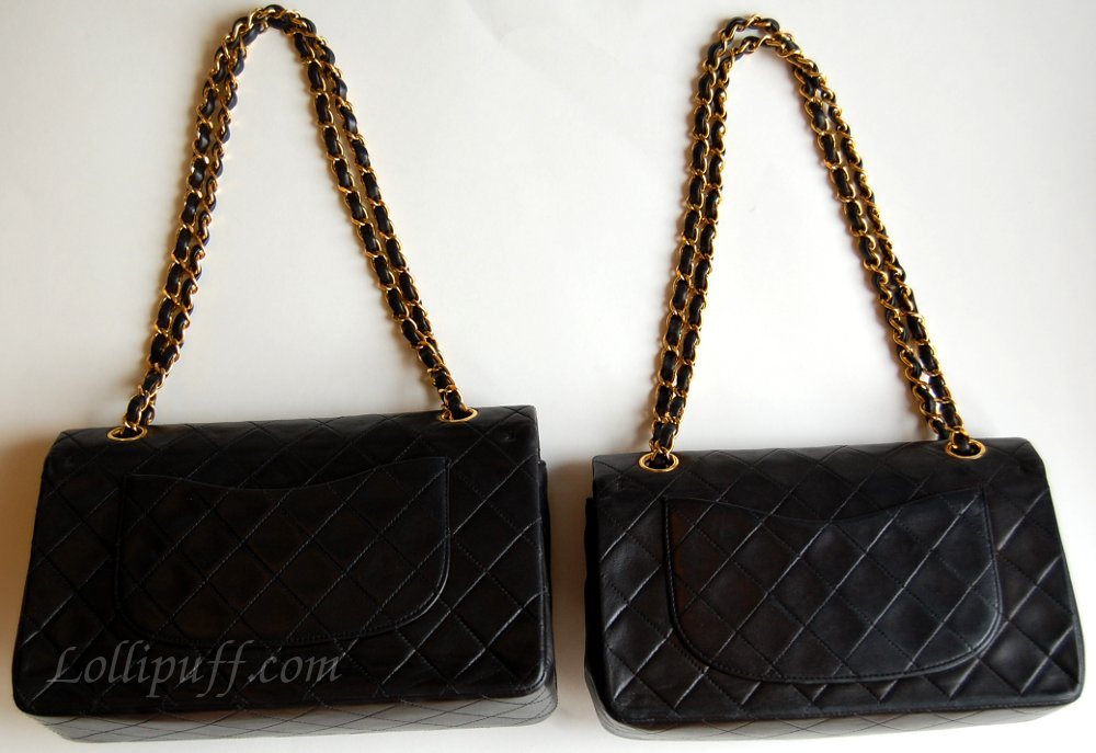 back of Chanel 2.55 double flap lambskin bags Chanel bag size comparison ccd744891c4ce