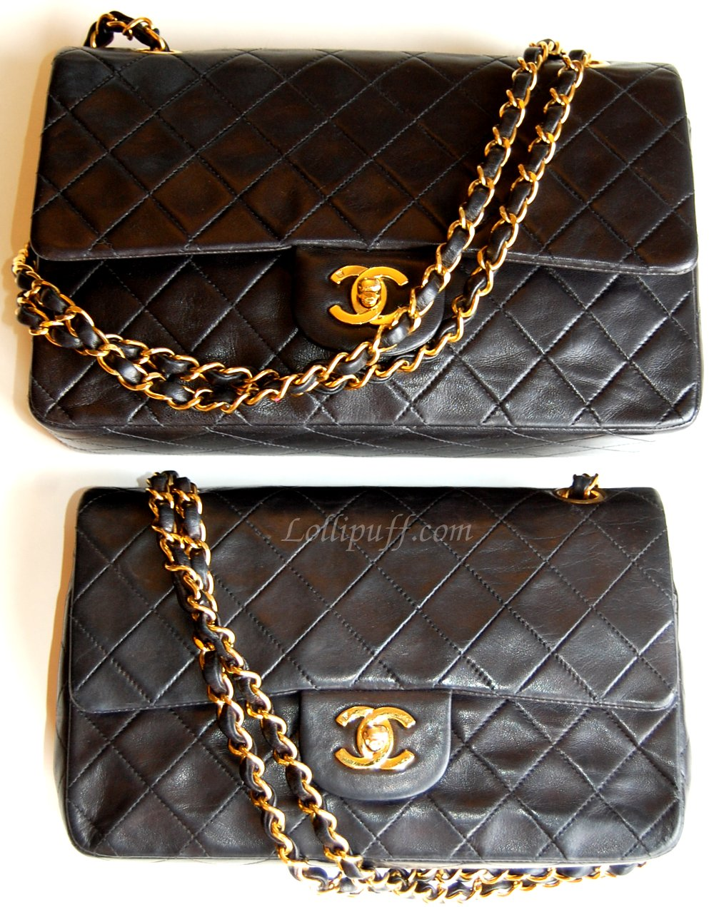 5cea9e5cc back of Chanel 2.55 double flap lambskin bags Chanel bag size comparison.  Obviously, by ...