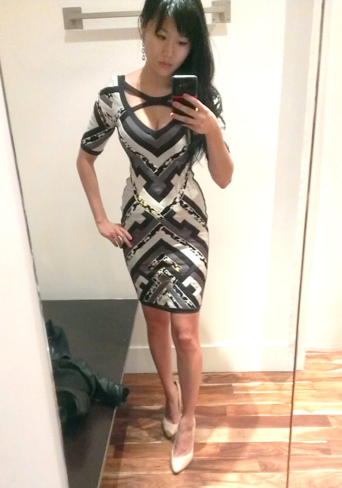 quilted Herve Leger dress