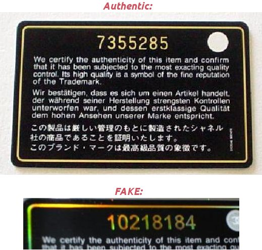 Chanel fake real authentication card
