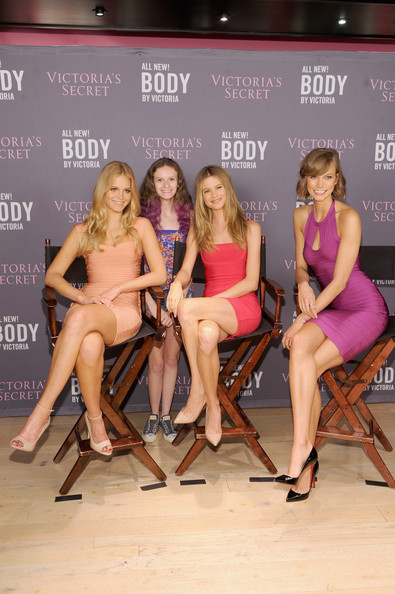 Victoria Secret models in Herve Leger dresses