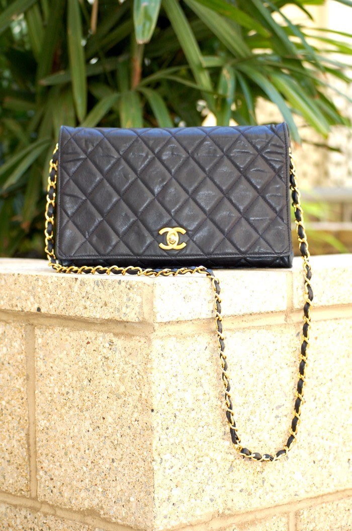 navy Chanel single flap bag
