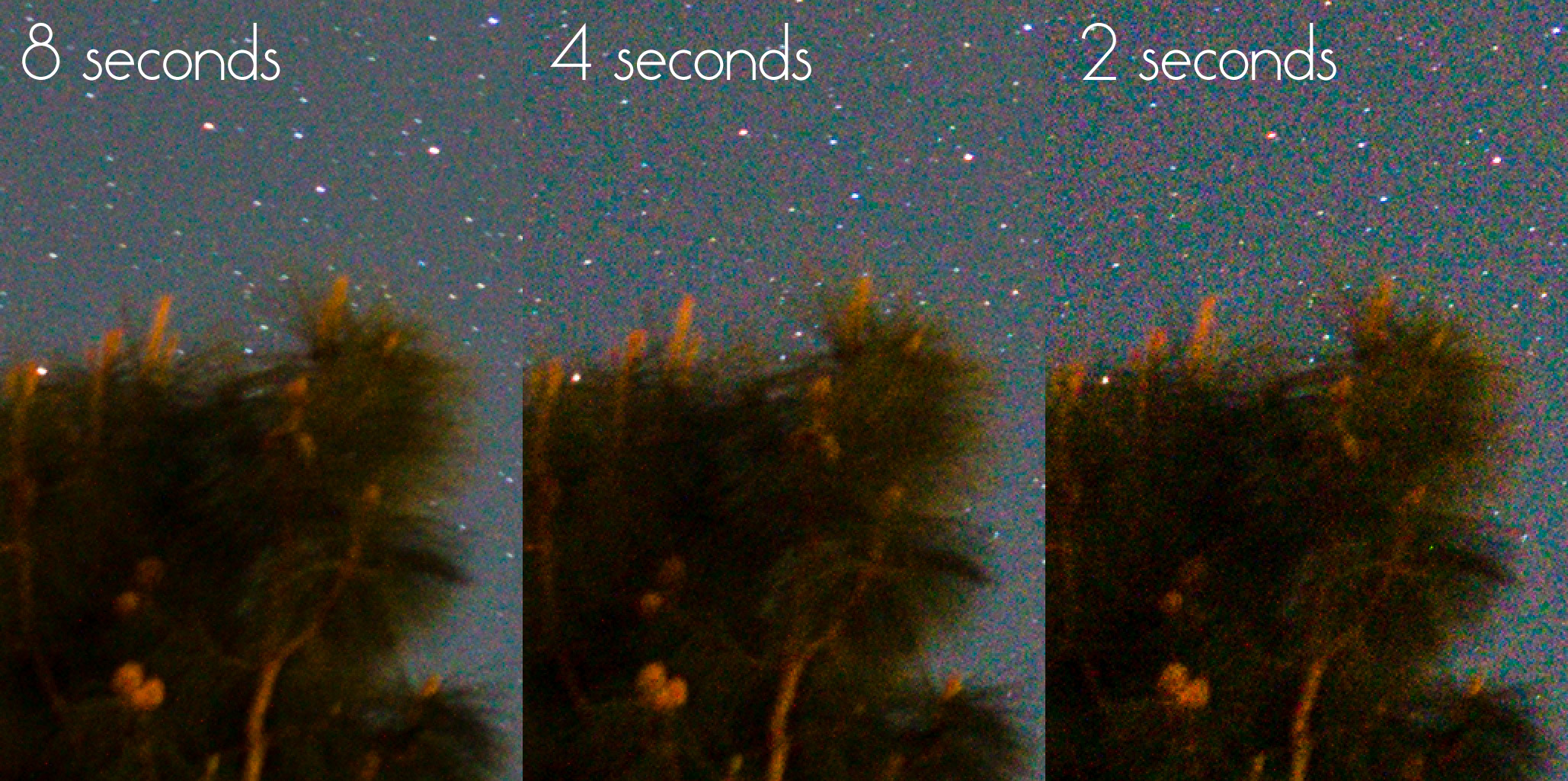 Astrophotography shutter time noise comparison