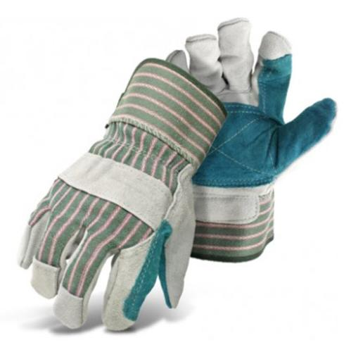 Boss Large Double Split Leather Palm Glove w/ Rubberized Safety Cuff - Large