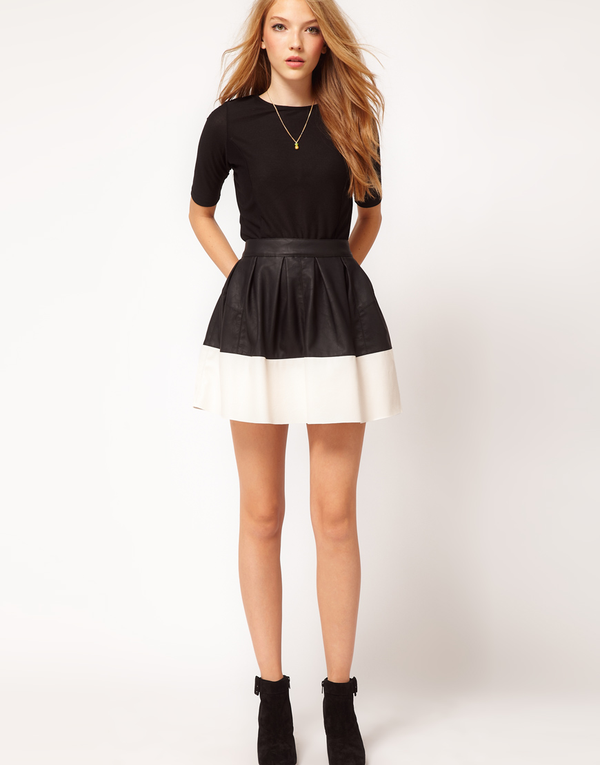 Asos Skater Skirt In Leather Look, Asos