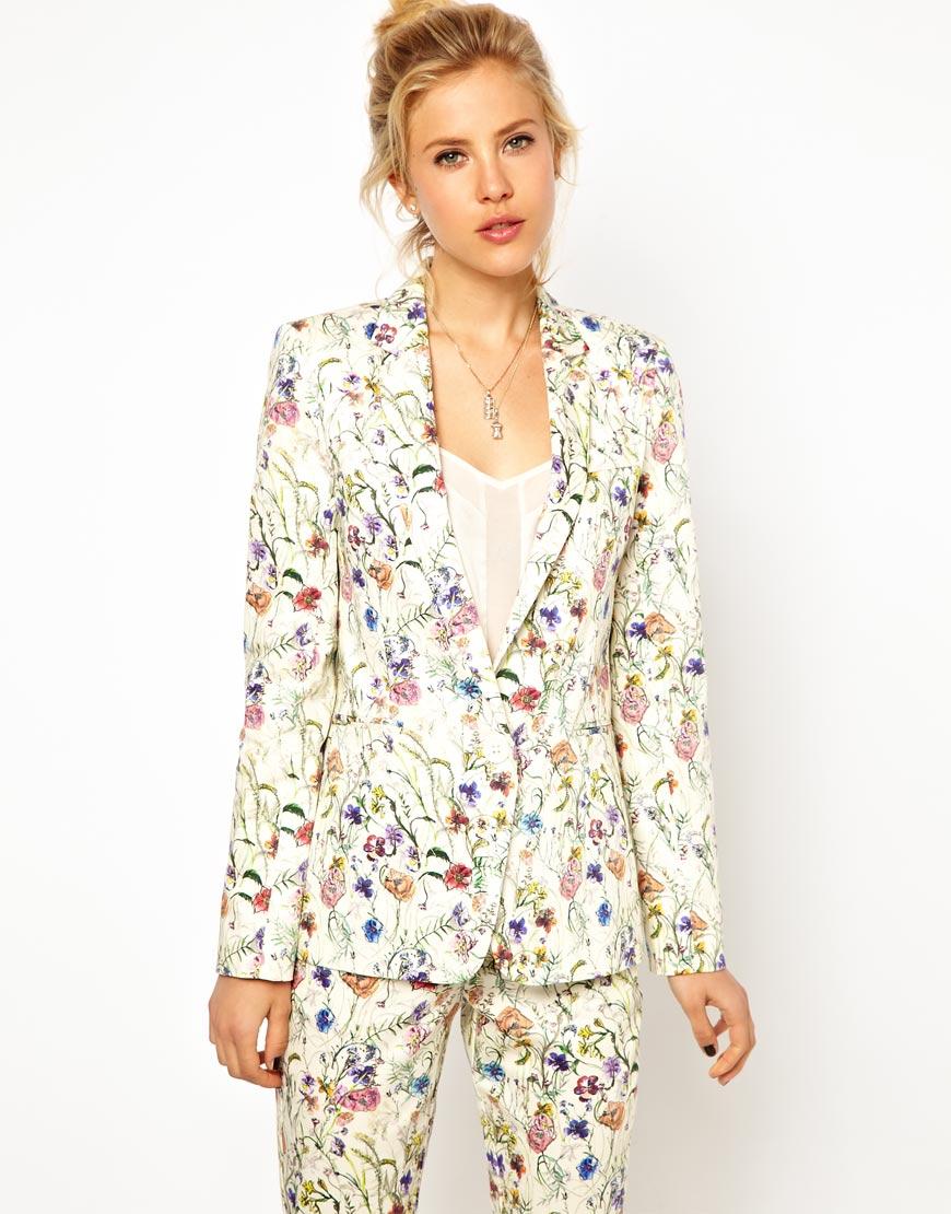 Asos Premium Blazer In Floral Print, Asos