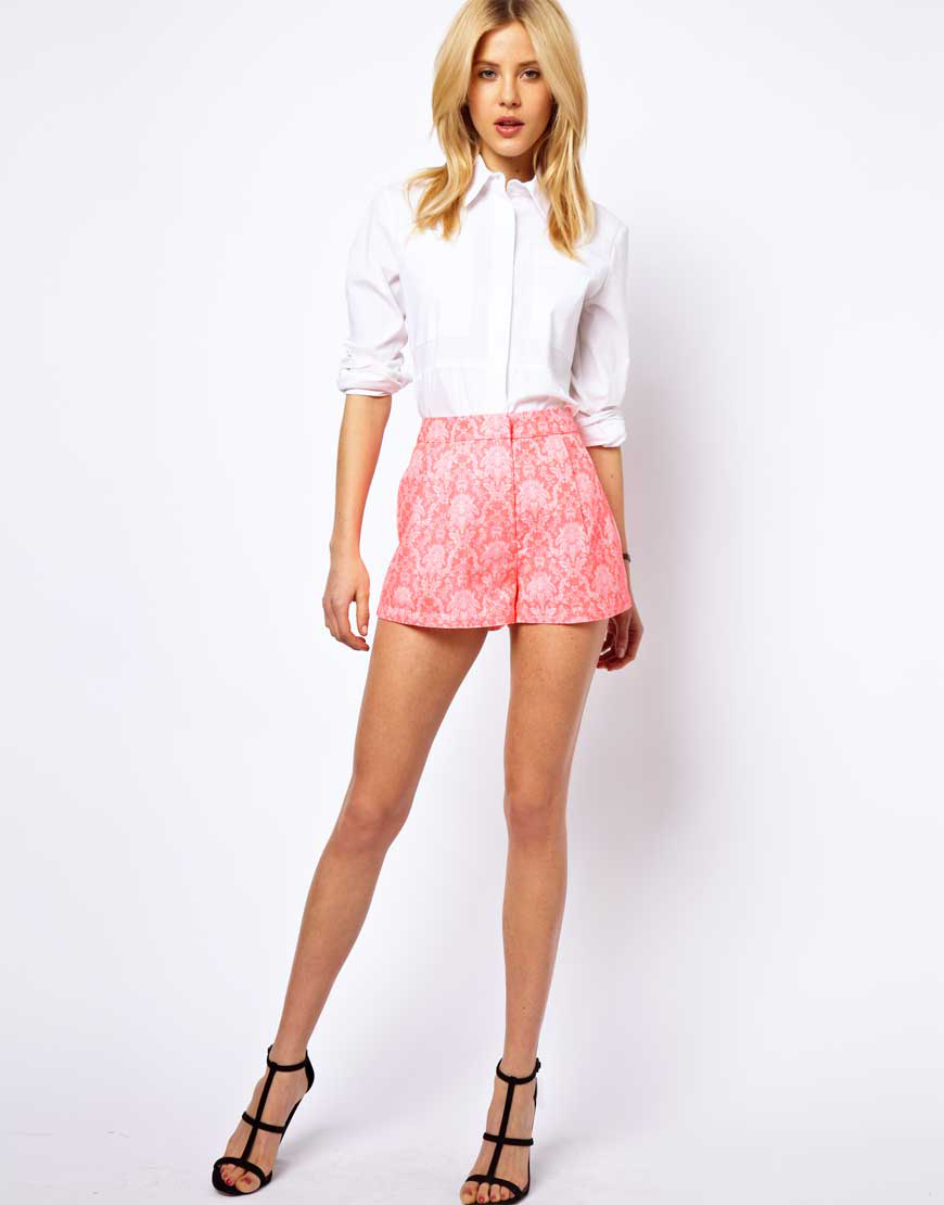 Asos Shorts In Statement Fluro Jacquard, Asos