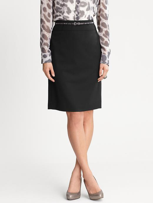 Banana Republic Black Lightweight Wool Pencil Skirt